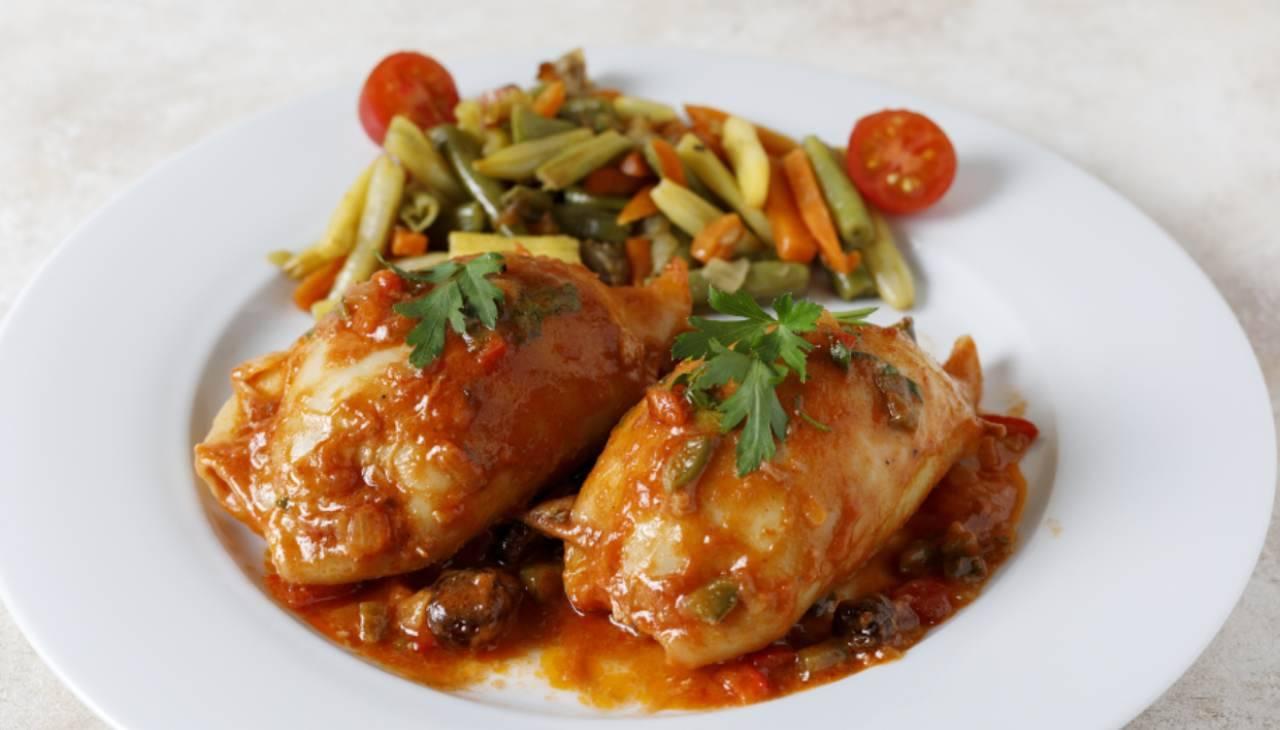 Secondo di pesce e carne con verdure