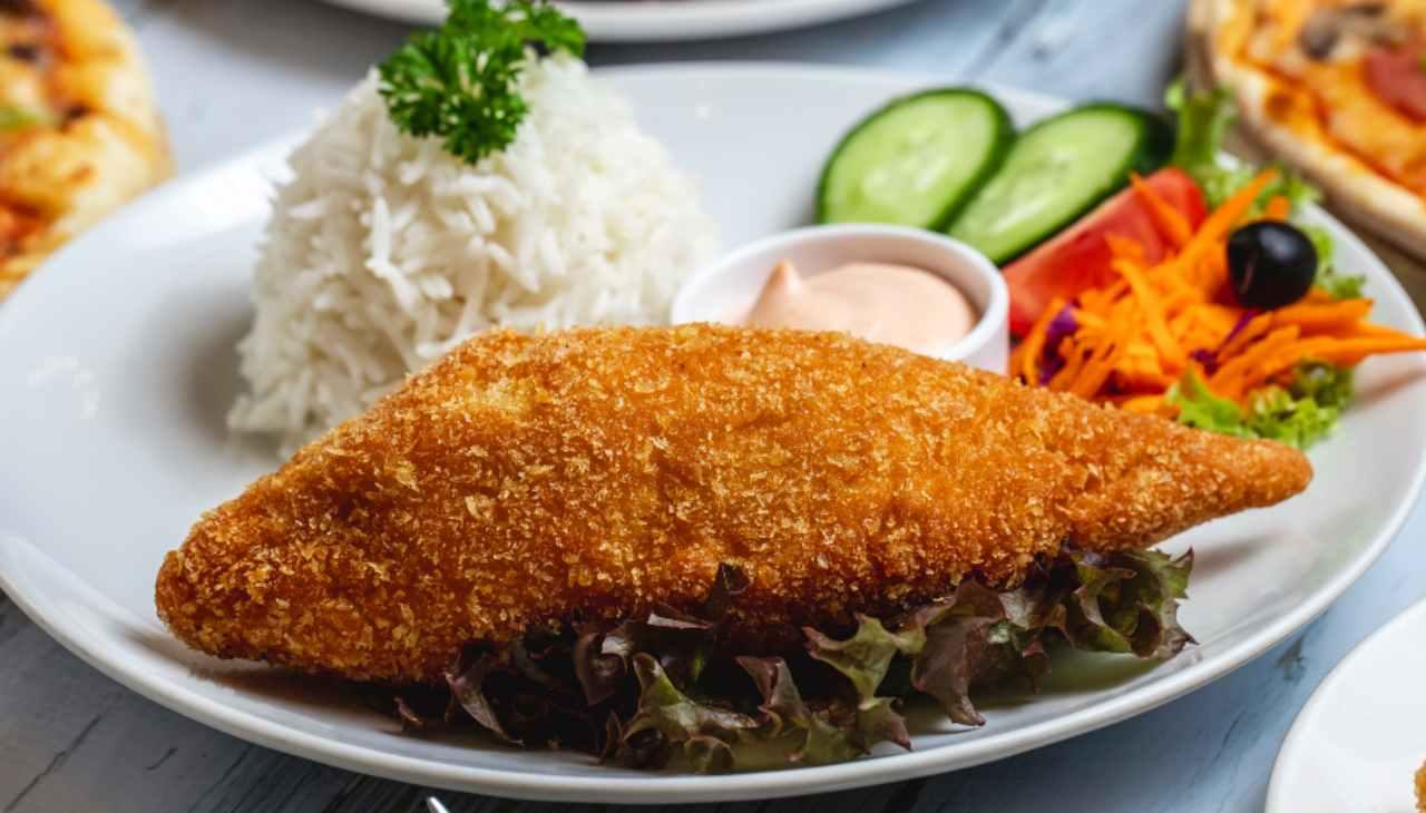 Pesce impanato e cotto