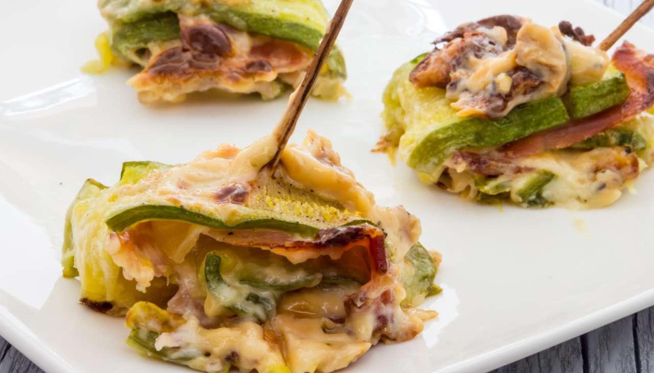 Lasagne di zucchine con prosciutto e formaggio