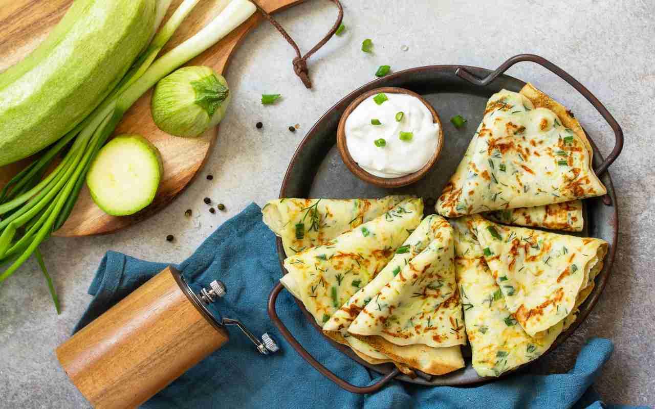 crepes zucchine no uova ricetta FOTO ricettasprint