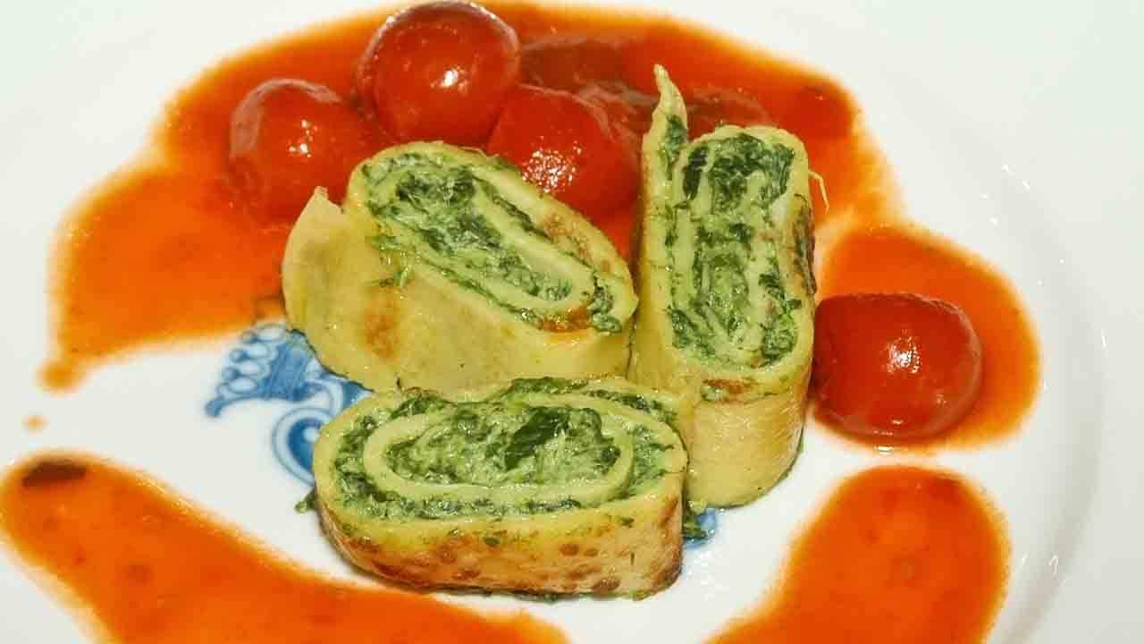 Rolle di omelette con spinaci