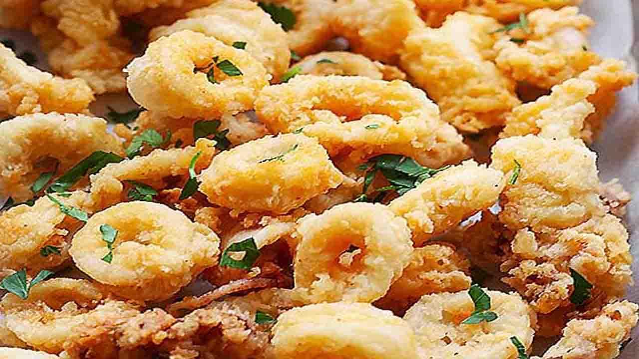 gamberi e calamari al forno