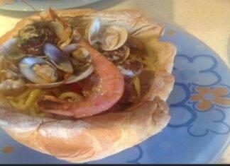 Scialatielli ai frutti di mare in crosta di pane