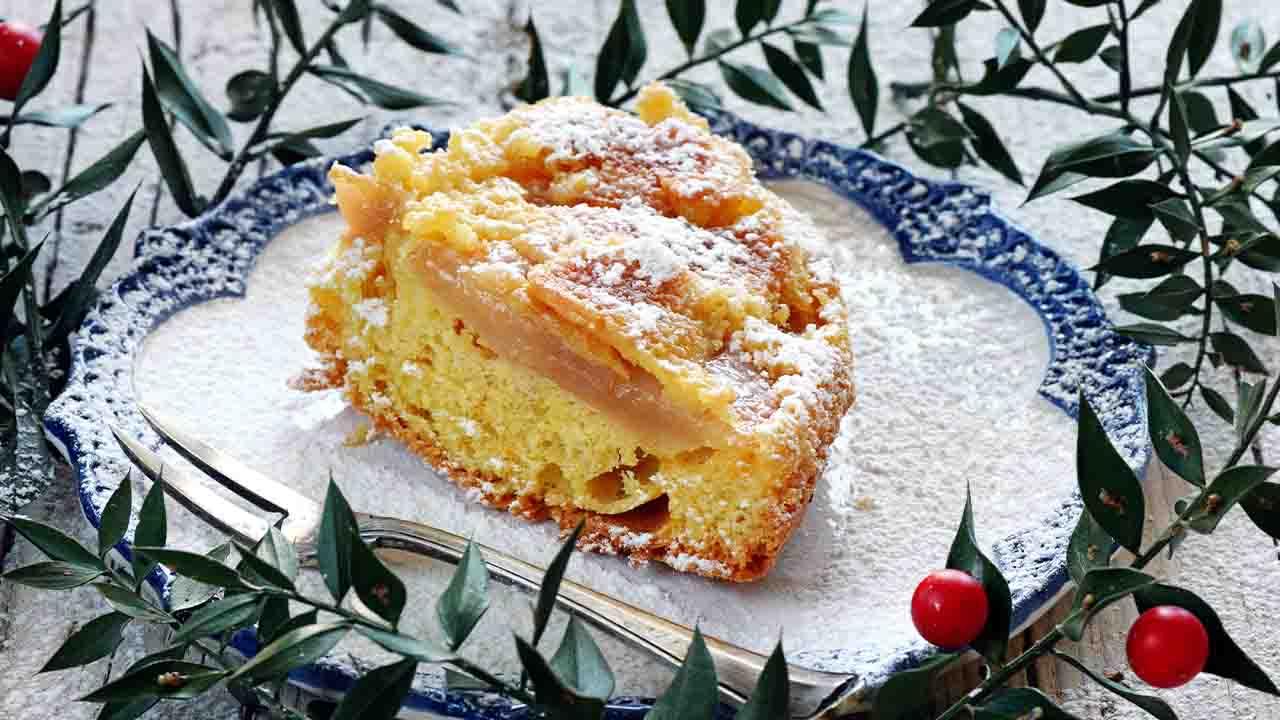 dessert di mele e zucchero a velo